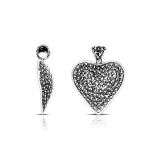 Handmade .925 Sterling Silver Bali Floral Heart Pendant (Indonesia)