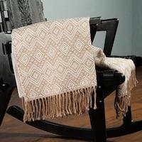 Handmade Acrylic Alpaca 'Hypnotic Beige' Throw Blanket (Peru)