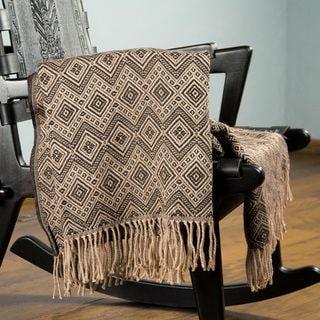 Acrylic Alpaca Wool 'Hypnotic Brown' Throw Blanket (Peru)