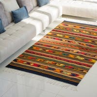 Handmade Color Celebration Traditional Zapotec Wool Area Rug 55 x 85 inch (Mexico) - 5.25' x 8.25'