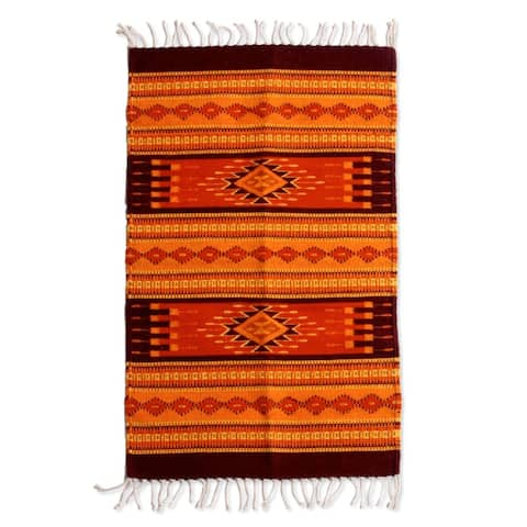 Handmade Sunset Zapotec Wool Rug (Mexico) - 4.9 ' L x 2.6' W
