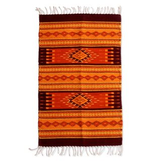 Handmade Sunset Zapotec Wool Rug (Mexico) - 2' x 3'5