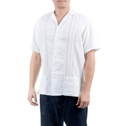 Handmade Men's Cotton 'Metapan Style' Shirt (El Salvador)
