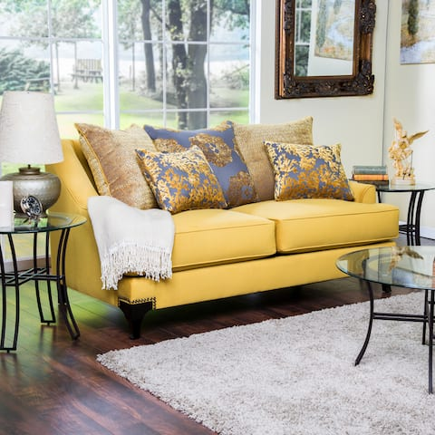 Furniture of America Gisc Contemporary Fabric Padded Nailhead Loveseat