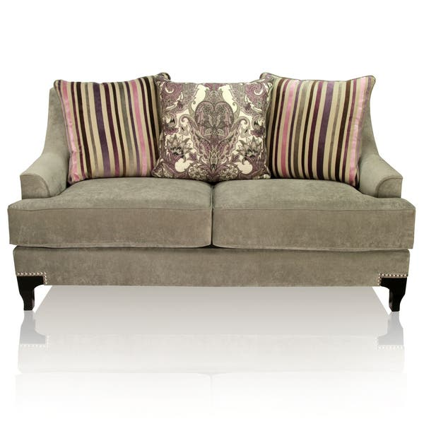 Incredible Shop Visconti Contemporary Nailhead Loveseat By Foa On Bralicious Painted Fabric Chair Ideas Braliciousco