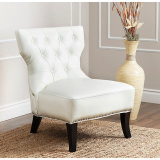abbyson sedona ivory leather nailhead chair free