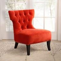 Abbyson Sedona Sangria Orange Microsuede Nailhead Chair