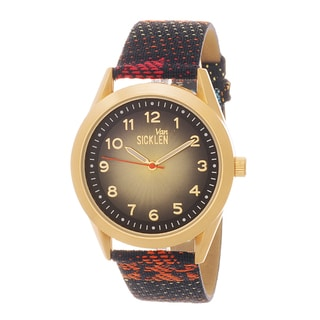 Van Sicklen Men's Goldtone Red Canvas Strap Watch
