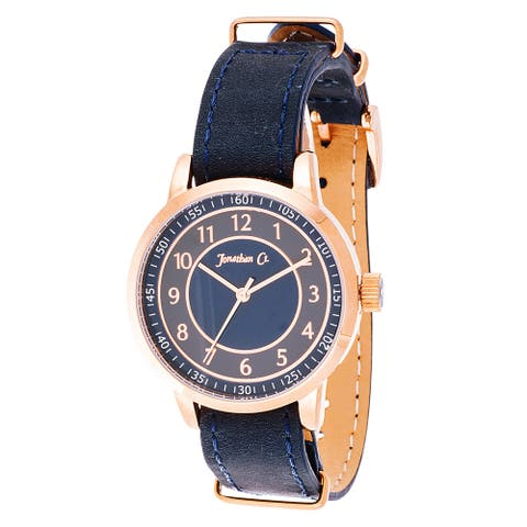 Jonathan Ct. Saxony Men's Analog Rose/ Navy Blue Leather Watch