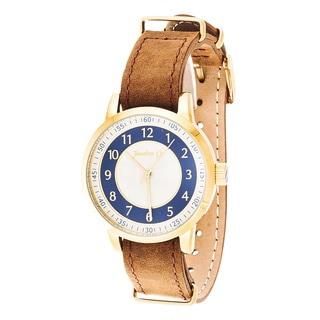 Jonathan Ct. Saxony Men's Analog Gold/ Brown Leather Watch