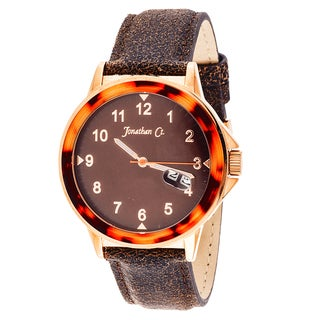 Jonathan Ct. Larchwood Men's Analog Rose/ Brown Leather Watch
