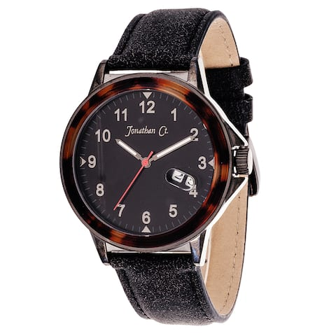 Jonathan Ct. Larchwood Men's Analog Gun Metal Black Leather Watch