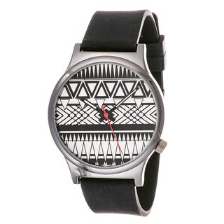 Van Sicklen Men's Black and White Zig-zag Dial Rubber Band Watch