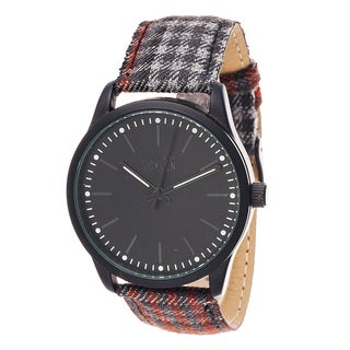 Van Sicklen Men's Gunmetal and Black Dial Plaid Fabric Watch