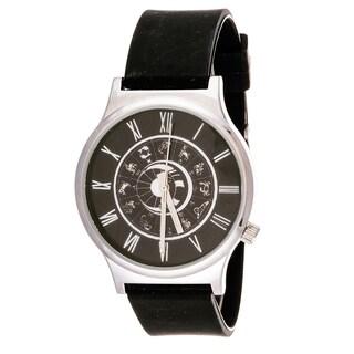 Van Sicklen Men's Black Horoscope Dial Rubber Strap Watch