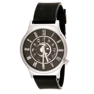 Van Sicklen Men's Black Horoscope Dial Rubber Strap Watch