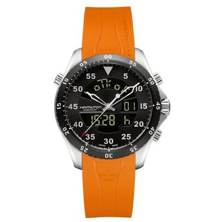 Hamilton Men's H64554431 Flight Timer Black Dial Watch