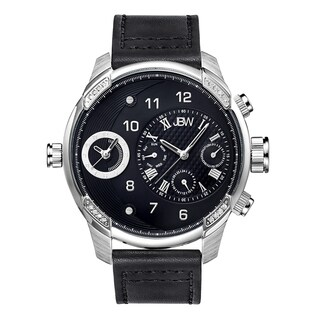JBW Men's G3 Swiss Diamond Black Leather Watch