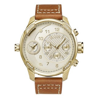 JBW Men's G3 Diamond Accent Brown Leather Watch