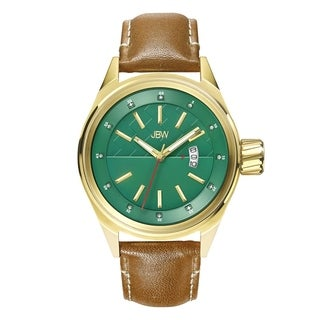 JBW Men's 18k Goldplated Steel J6287G Rook Diamond Accent Green Dial Brown Leather Watch