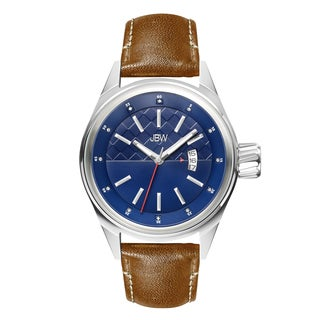 JBW Men's Stainless Steel J6287F Rook Diamond Accent Blue Dial Brown Leather Watch