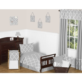 Grey and White Modern Trellis Kids Toddler Bedding 5-piece Lattice Print Set Collection by Sweet Jojo Designs