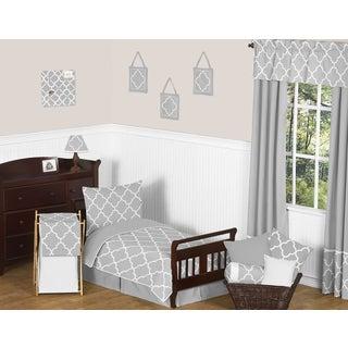 Grey and White Modern Trellis Kids Toddler Bedding 5-piece Lattice Print Set Collection by Sweet Jojo Designs