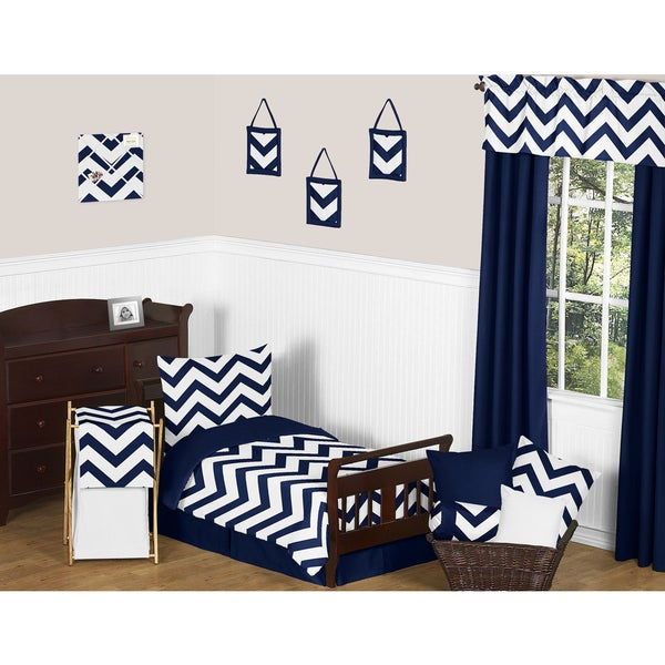 Sweet Jojo Designs Navy Blue/ White Chevron 5-piece Toddler Bedding Zig Zag Set