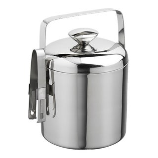 1.5-quart Polished Stainless Steel Ice Bucket with Tongs