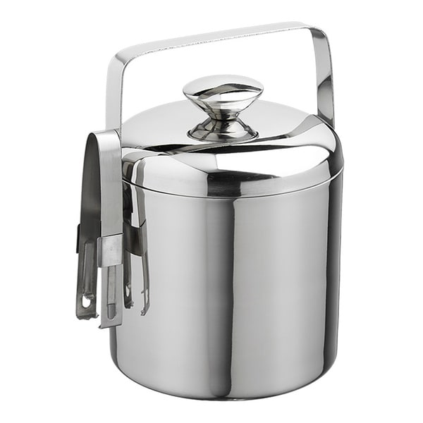 stainless steel ice bucket. 1.5-quart Polished Stainless Steel Ice Bucket With Tongs