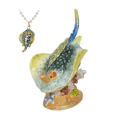 Sea Life Austrian Crystal Trinket Box with Pendant by Versil