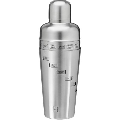 Brushed Stainless Steel 32-ounce Recipe Cocktail Shaker