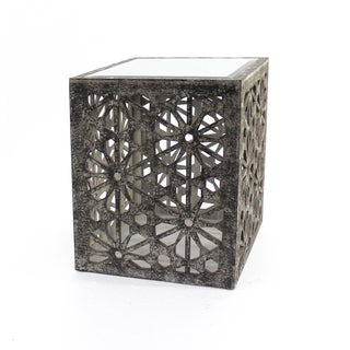 Antiqued Moroccan-inspired Charcoal Grey Floral Cut-out Accent Table with Mirror Top