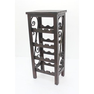 Dark Brown Natural Wood 4-tier Wine Rack