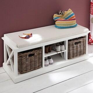 The Gray Barn Ora Mahogany Bench with Basket Set and Seat Cushion