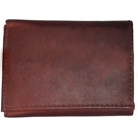 Men's Classic Black/Brown/Tan Genuine Leather Trifold Wallet