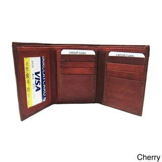 Men's Classic Black/Brown/Tan Genuine Leather Trifold Wallet (Option: Cherry)