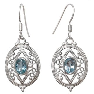 Hand-crafted Sterling Silver 1ct TGW Blue Topaz Filigree Earrings (India)