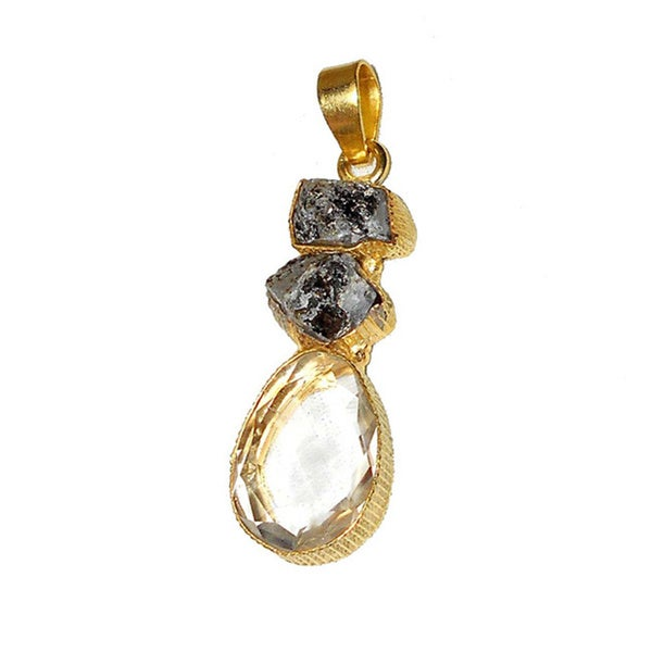 Handmade Herkimer Diamond & Crystal Gold Overlay Pendant (India) - Wheat