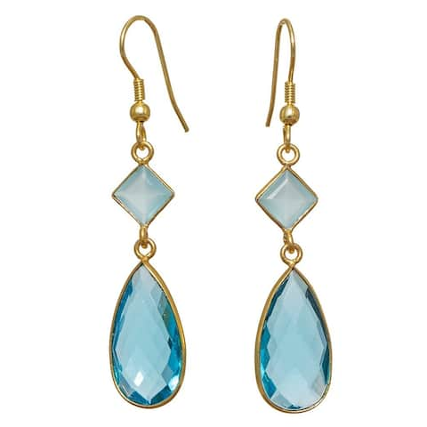 Handmade Blue Glass Gold Overlay Earrings (India)