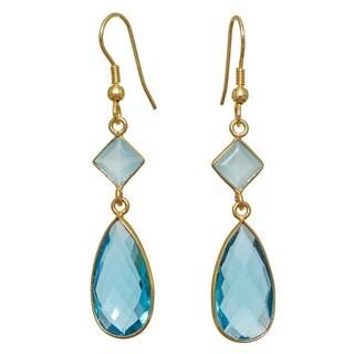 Handmade Blue Topaz Glass, Blue Topaz Gemstone Gold Overlay Earrings (India)