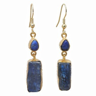 Handmade Kyanite Rough Gemstone Gold Overlay Earrings - Blue (India)