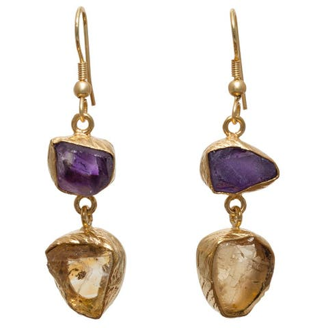 Citrine and Amethyst Rough Gemstone Gold Overlay Earrings (India)