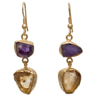 Citrine and Amethyst Rough Gemstone Goldplated Earrings (India)