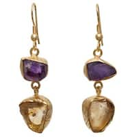 Handmade Citrine and Amethyst Rough Gemstone Gold Overlay Earrings (India)