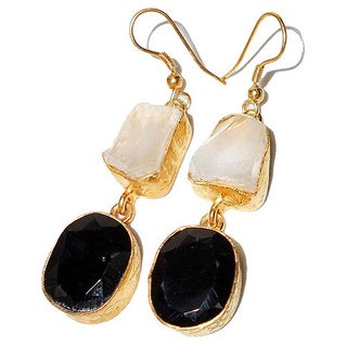 Crystal and Black Onyx Rough Gemstone Goldplated Earrings (India)