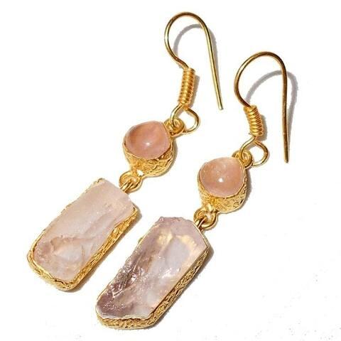 Handmade Rose Quartz Rough Gemstone Gold Overlay Earrings (India) - Pink