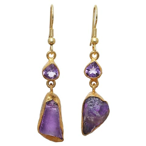 Handmade Amethyst Rough Gemstone Gold Overlay Earrings (India) - Purple