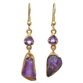 Amethyst Rough Gemstone Gold Overlay Earrings (India)