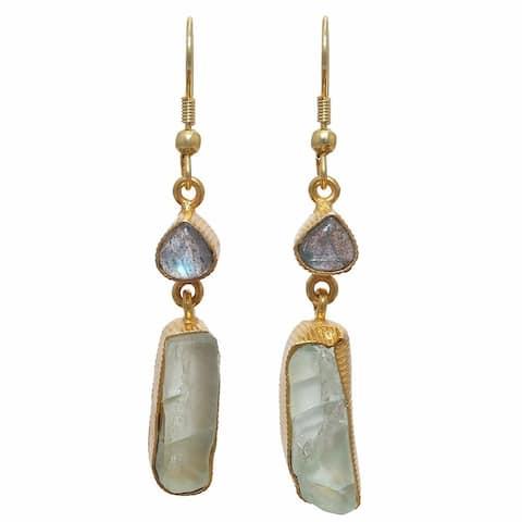 Handmade Labradorite and Fluorite Rough Gem Gold Overlay Earrings (India)